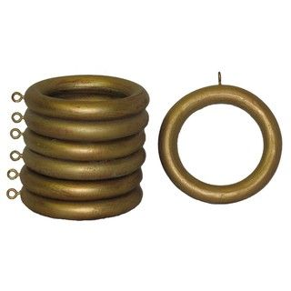 Wood 2 Inch Historical Gold Curtain Rings Set Of 7