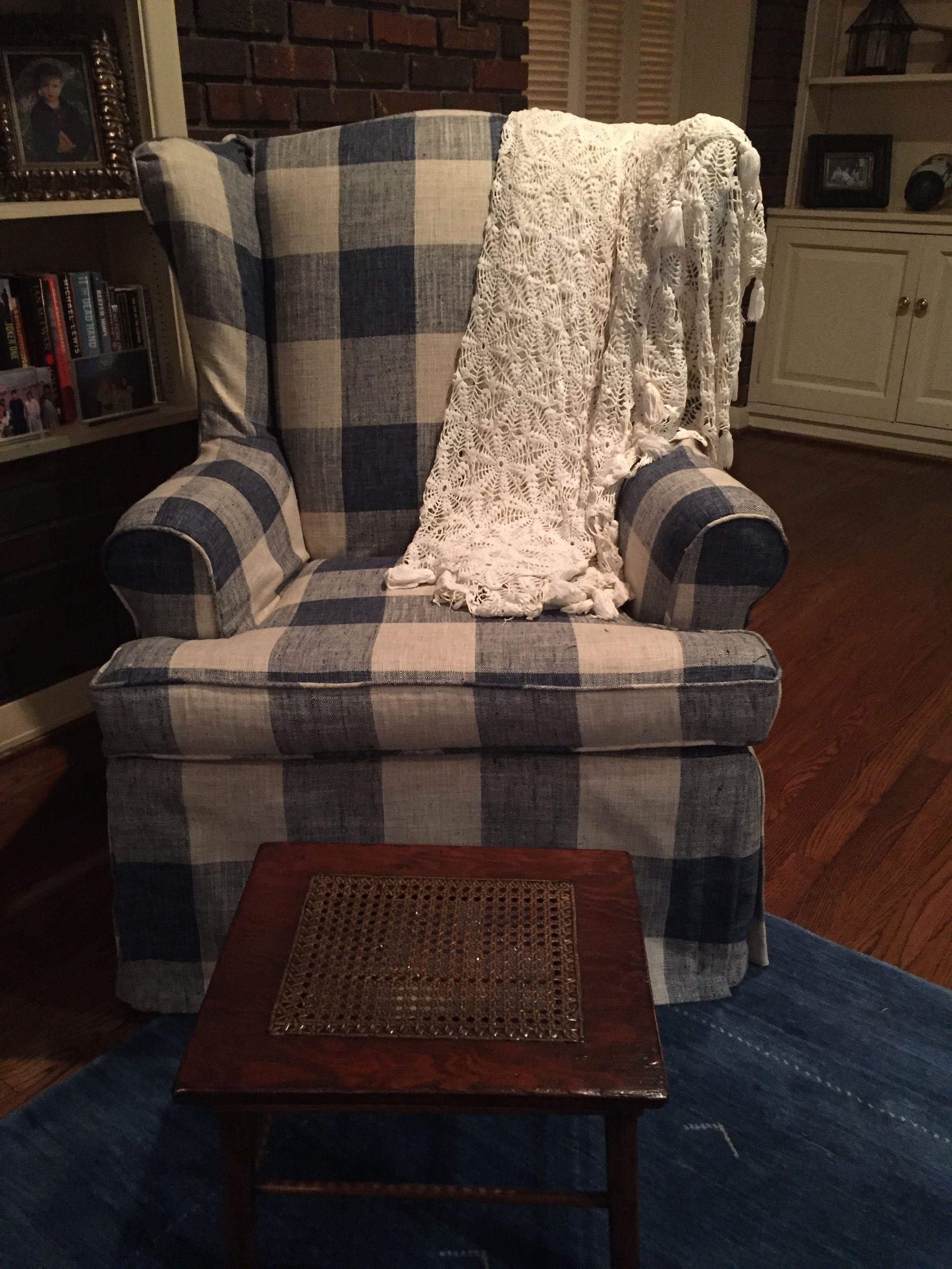 Buffalo check fabric on grandmothers wingback chairs