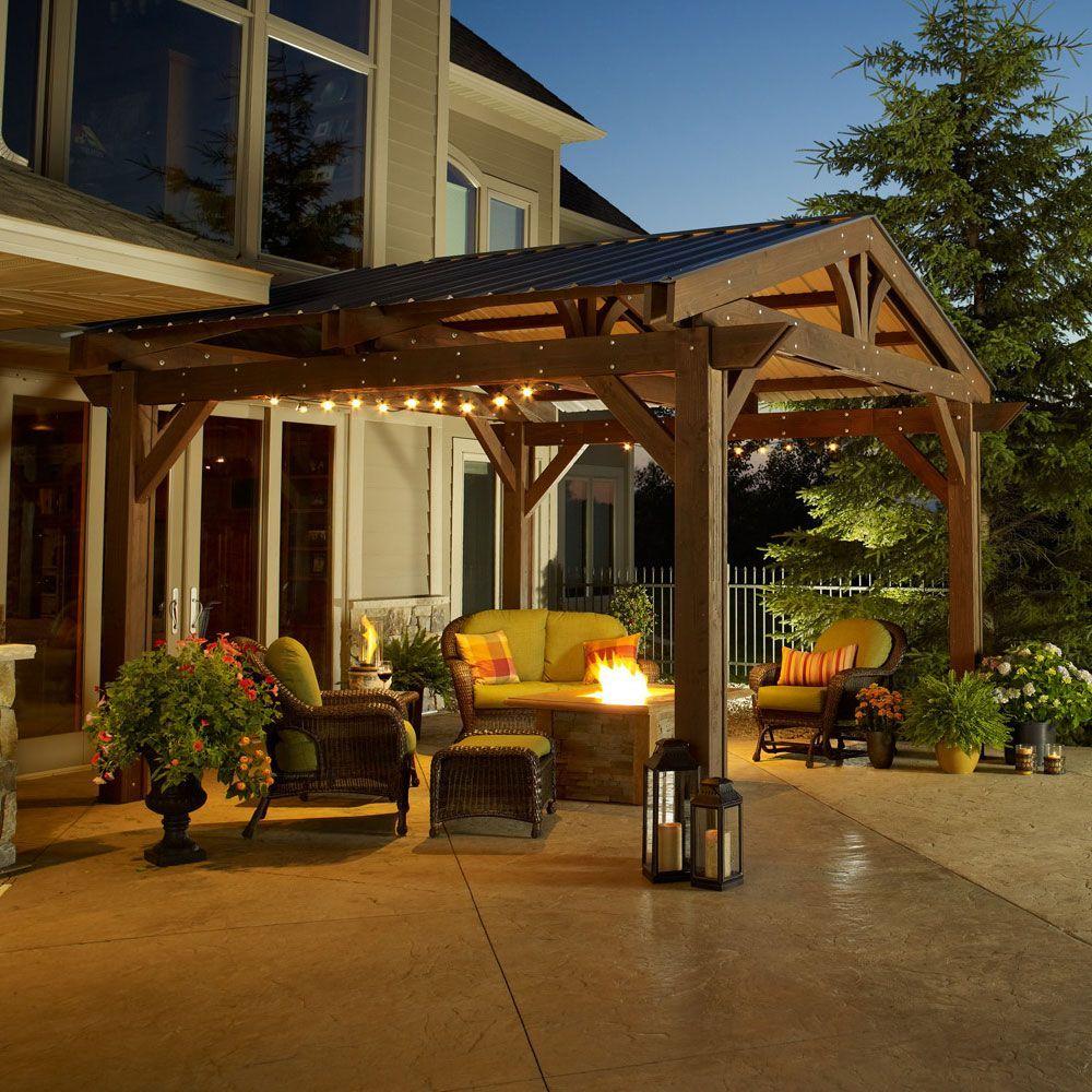 Lodge Ii Wood Pergola Kit Shown With Green Metal Roof Outdoor Pergola Pergola Patio Backyard Pergola