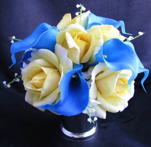 Blue Lilies Natural Touch Bouquet Blue Calla Lily Yellow Rose