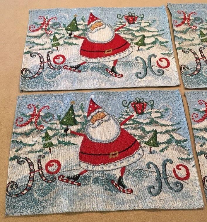Ice Skating Santa Claus Christmas Cotton Placemats Set of