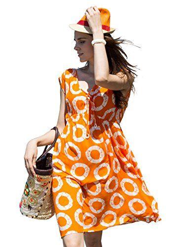 0f0187723 LALUNESSE Women's Casual V-Neck Elastic Empire Waist Print Cap Sleeve Beach  Dress, Orange