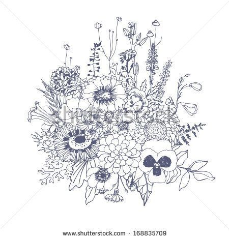 Bouquet Of Wildflowers Vector Hand Drawn Illustration