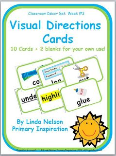 Classroom Freebies Too: Visual Directions Cards