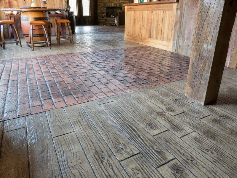 A Combination Of Brick And Board Plank Stamped Concrete
