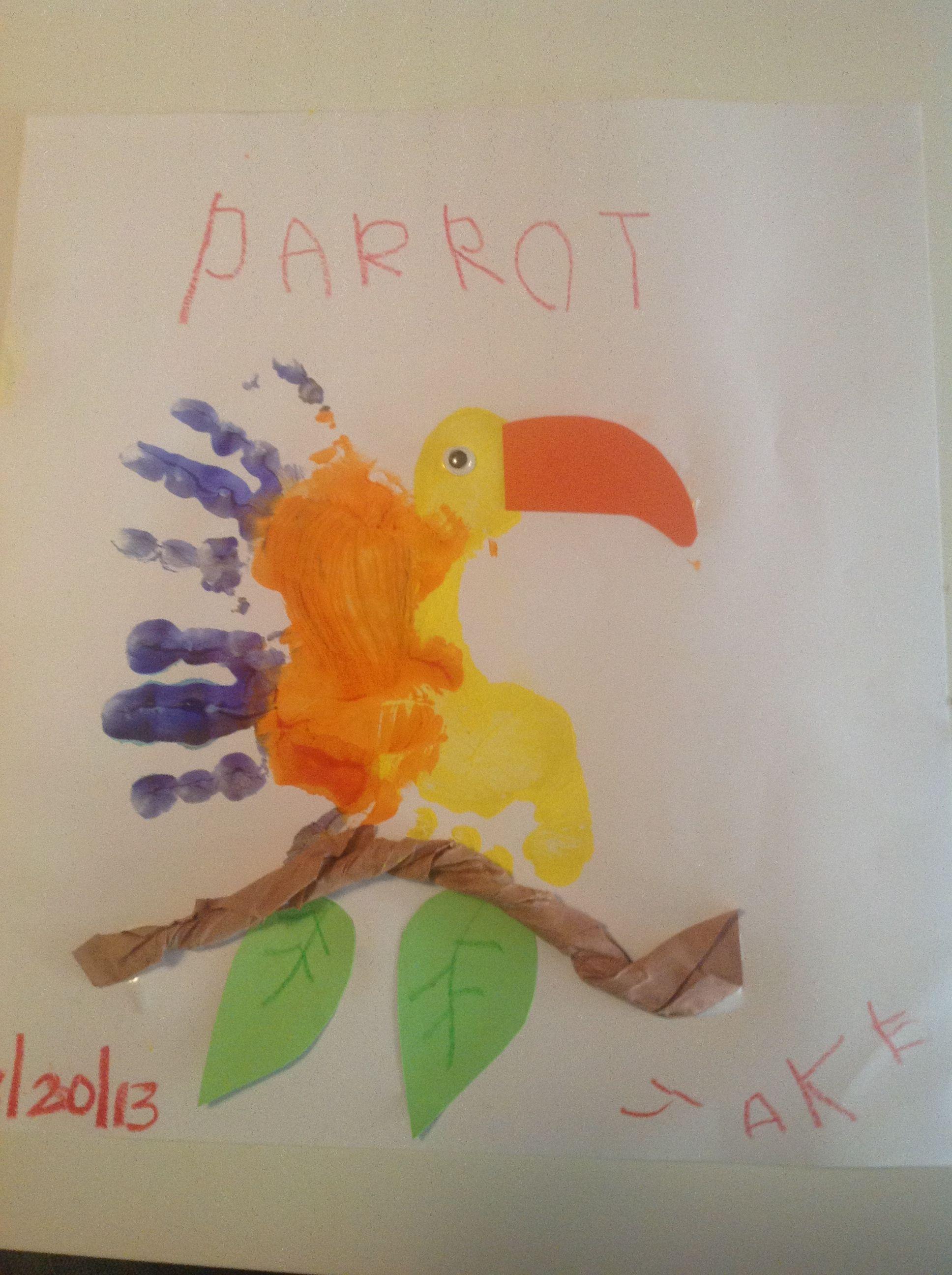 Animal Theme Parrot Kids Craft Preschool Handprint And Footprint