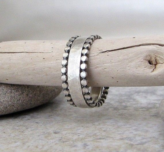 Silver Wedding Band & Stacking Rings Dot Hammered by SilverSmack