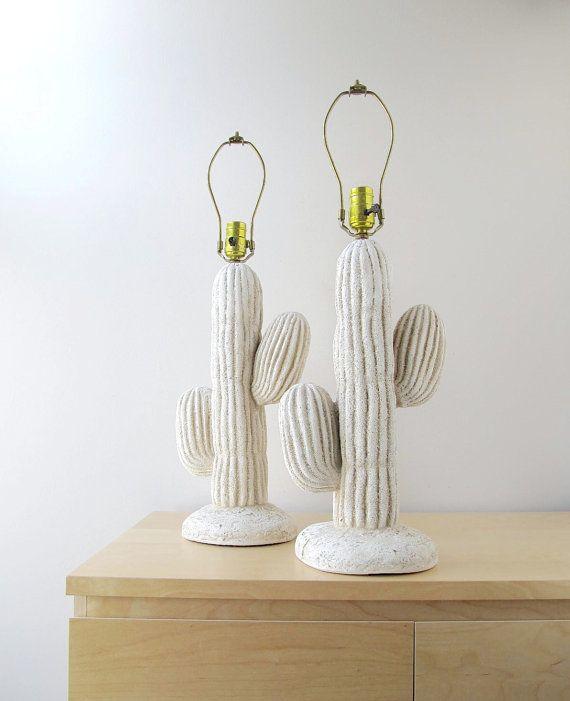 Southwest Decor Cactus Lamps Pair Pottery Table Lamps