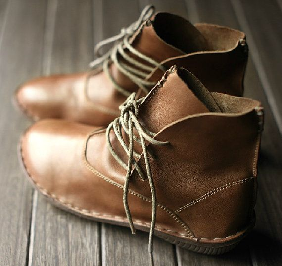 Handmade Shoes,Ankle Boots,Oxford Women Shoes, Flat Shoes, Retro ...