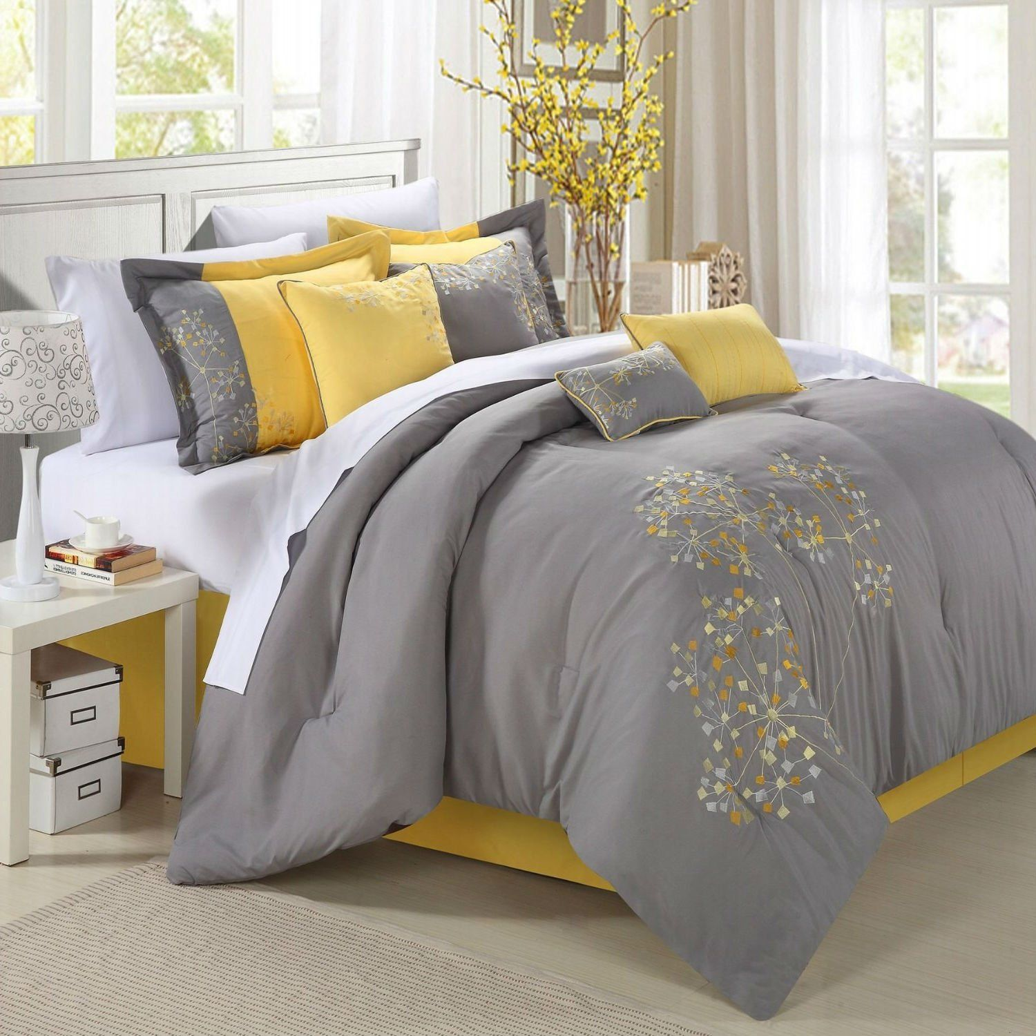 This King Size Yellow Grey Floral 8 Piece Comforter Set Is Over