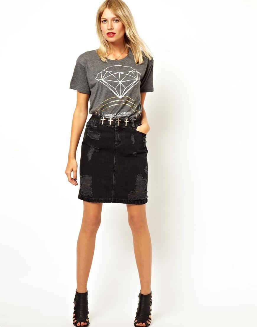 Womens Black Denim Skirt - Dress Ala