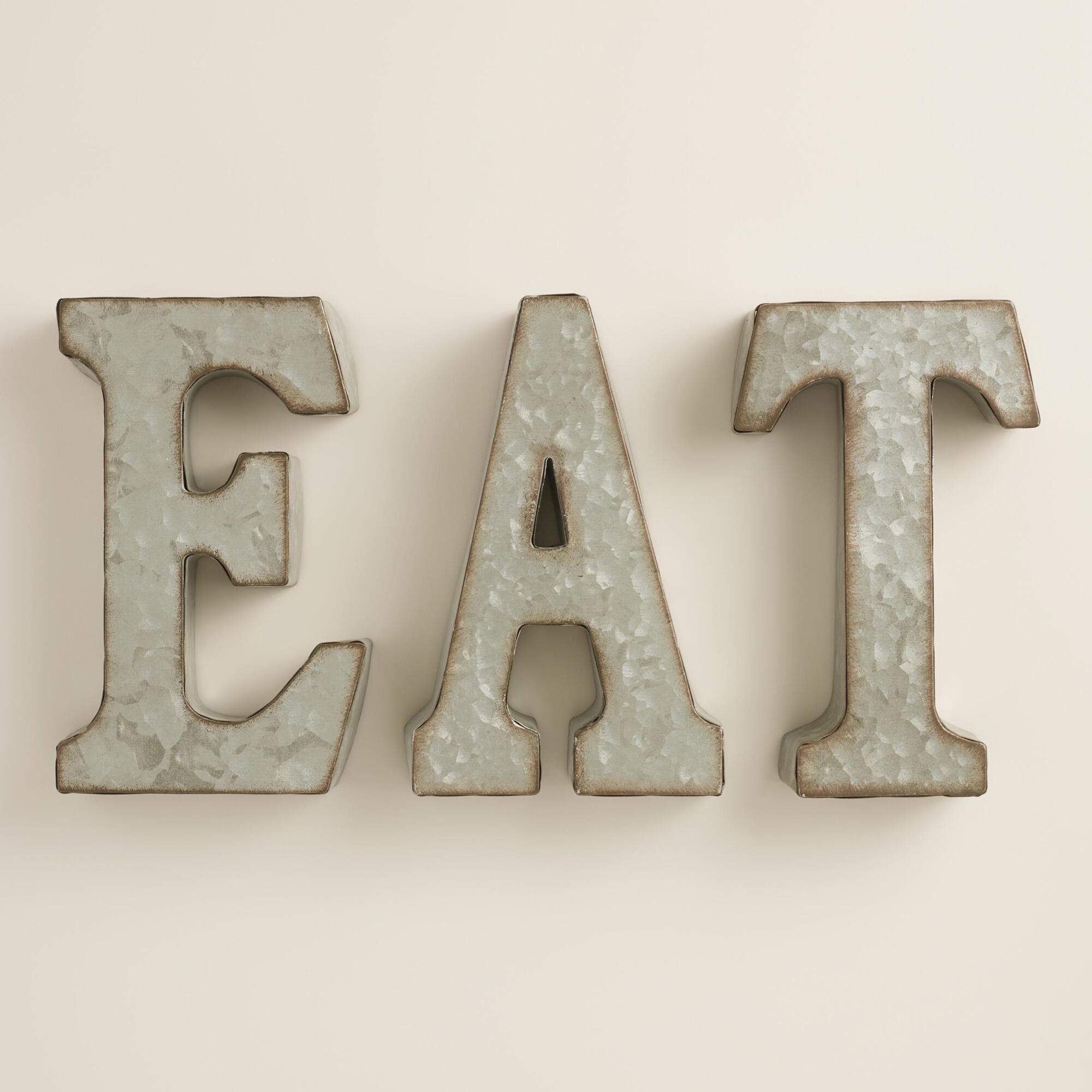 Zinc Metal Eat Sign Eat Sign Eat Kitchen Sign Farmhouse Chic Kitchen Decor