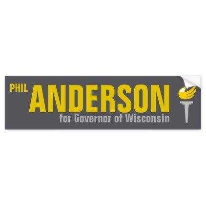 Phil anderson for governor of wisconsin 2018 bumper sticker diy cyo personalize design idea new