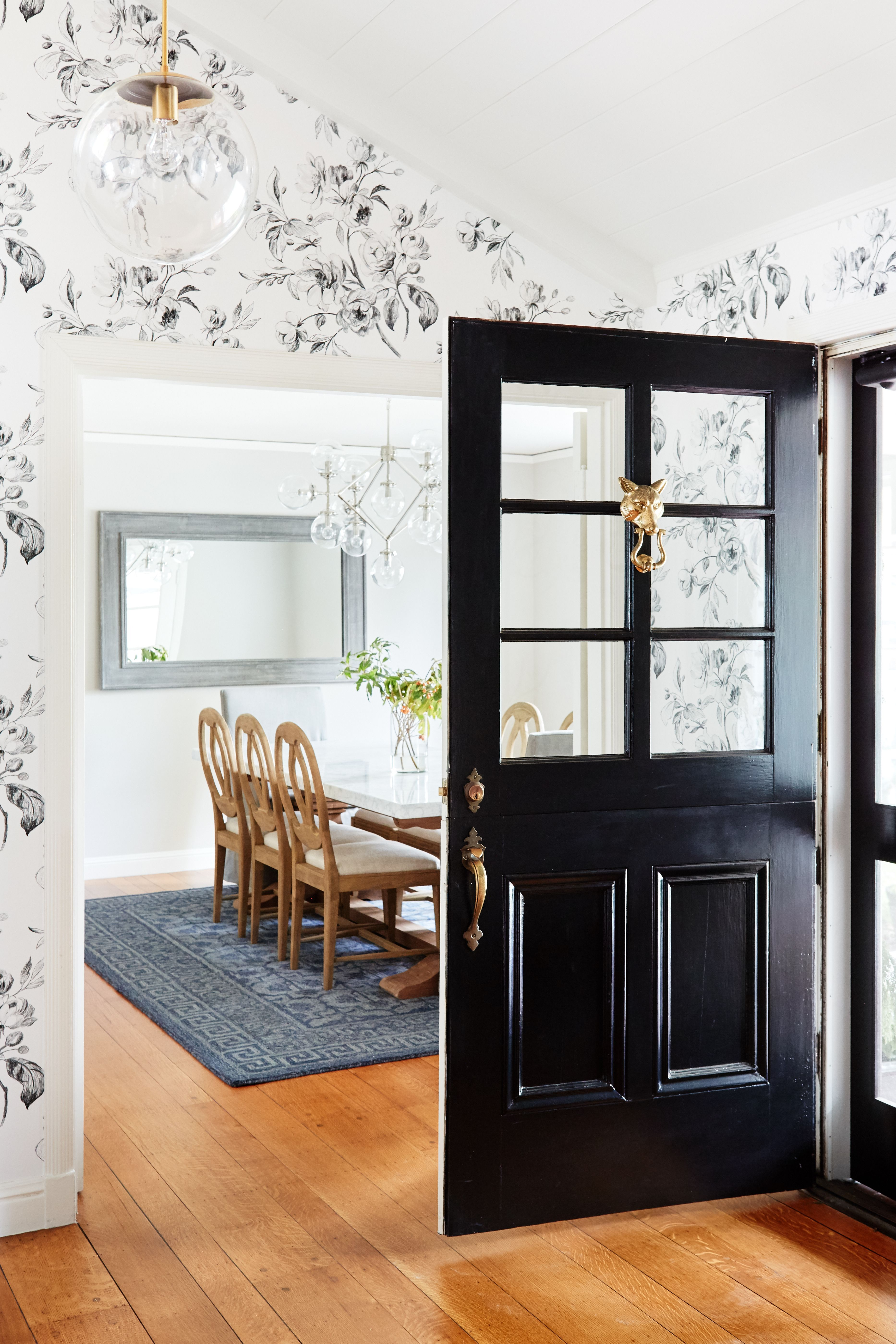 Bright hallway wallpaper  A Classic Home Tour Full of Gorgeous Pattern  HOME ENTRANCES