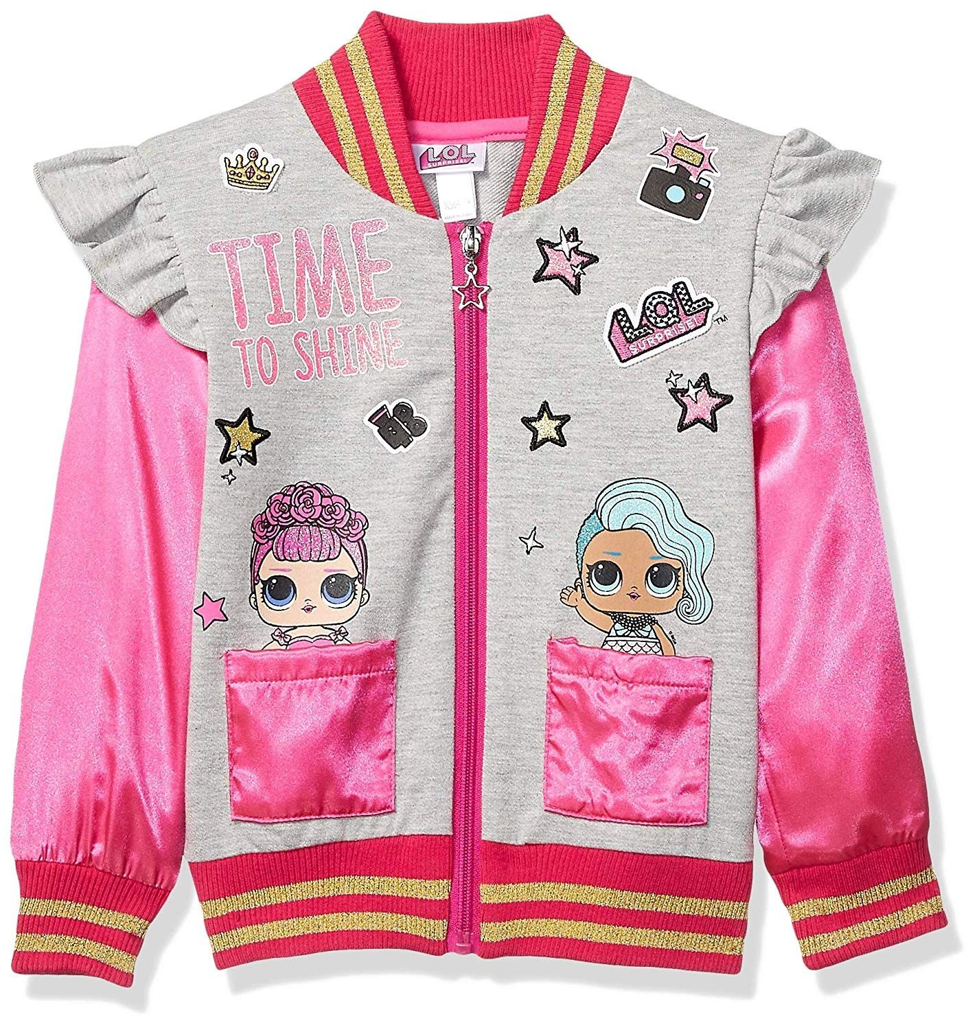 Girls Lol Time To Shine Bomber Jacket Multicolor Cr18oe5n34h Size X Small 4 5 Kids Outdoor Clothes Long Knit Sweater Bomber Jacket [ 1500 x 1426 Pixel ]