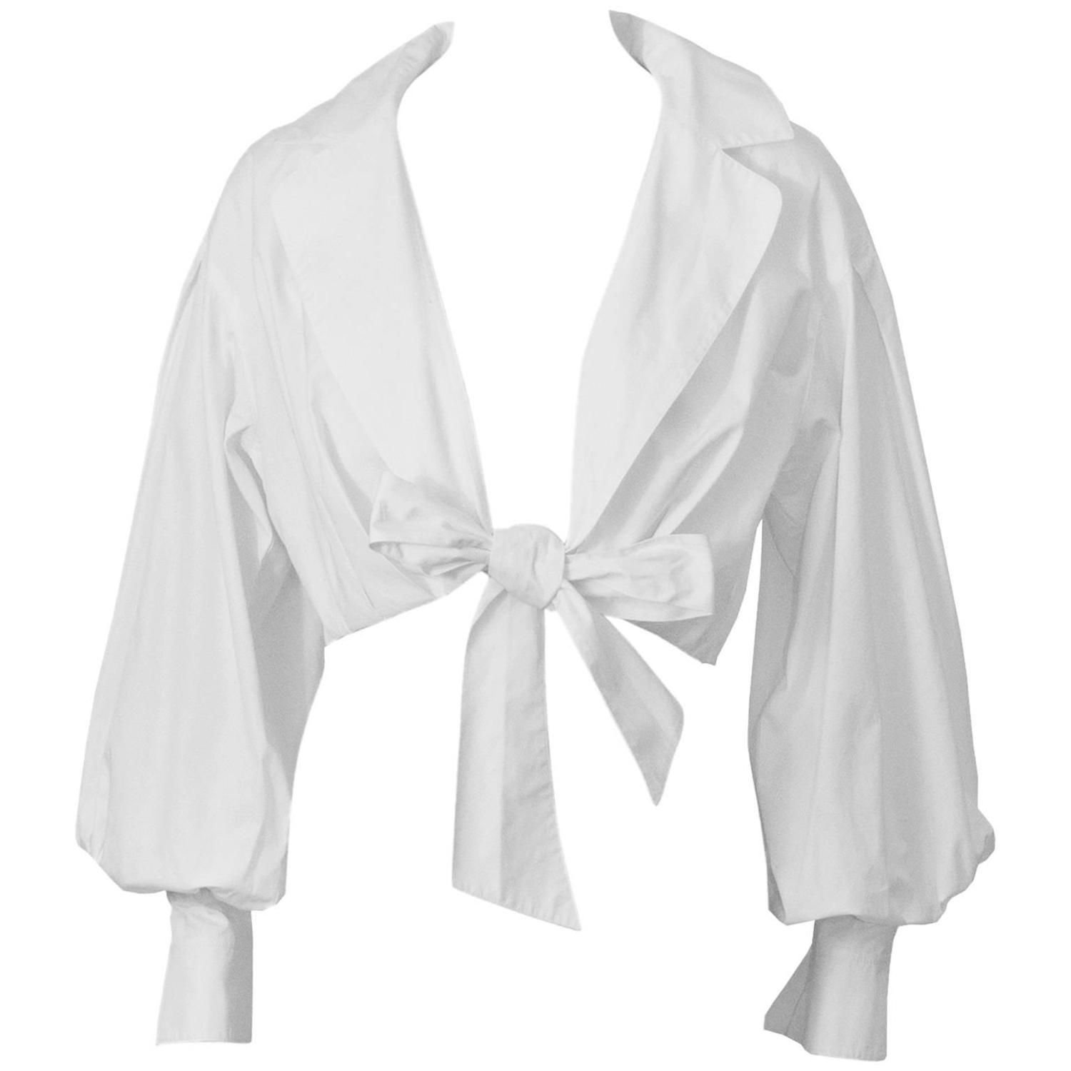 1980 s Montana White Cropped Tie-up Blouse 1  0c8039377
