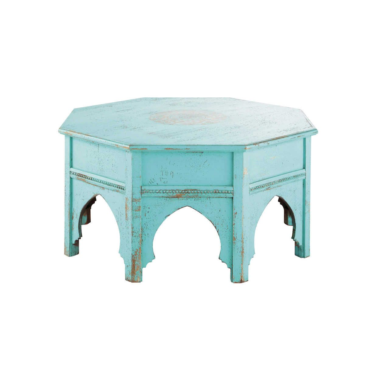 Round Blue Coffee Table Salvador Maisons Du Monde Furniture  # Table Basse Ronde Hippie