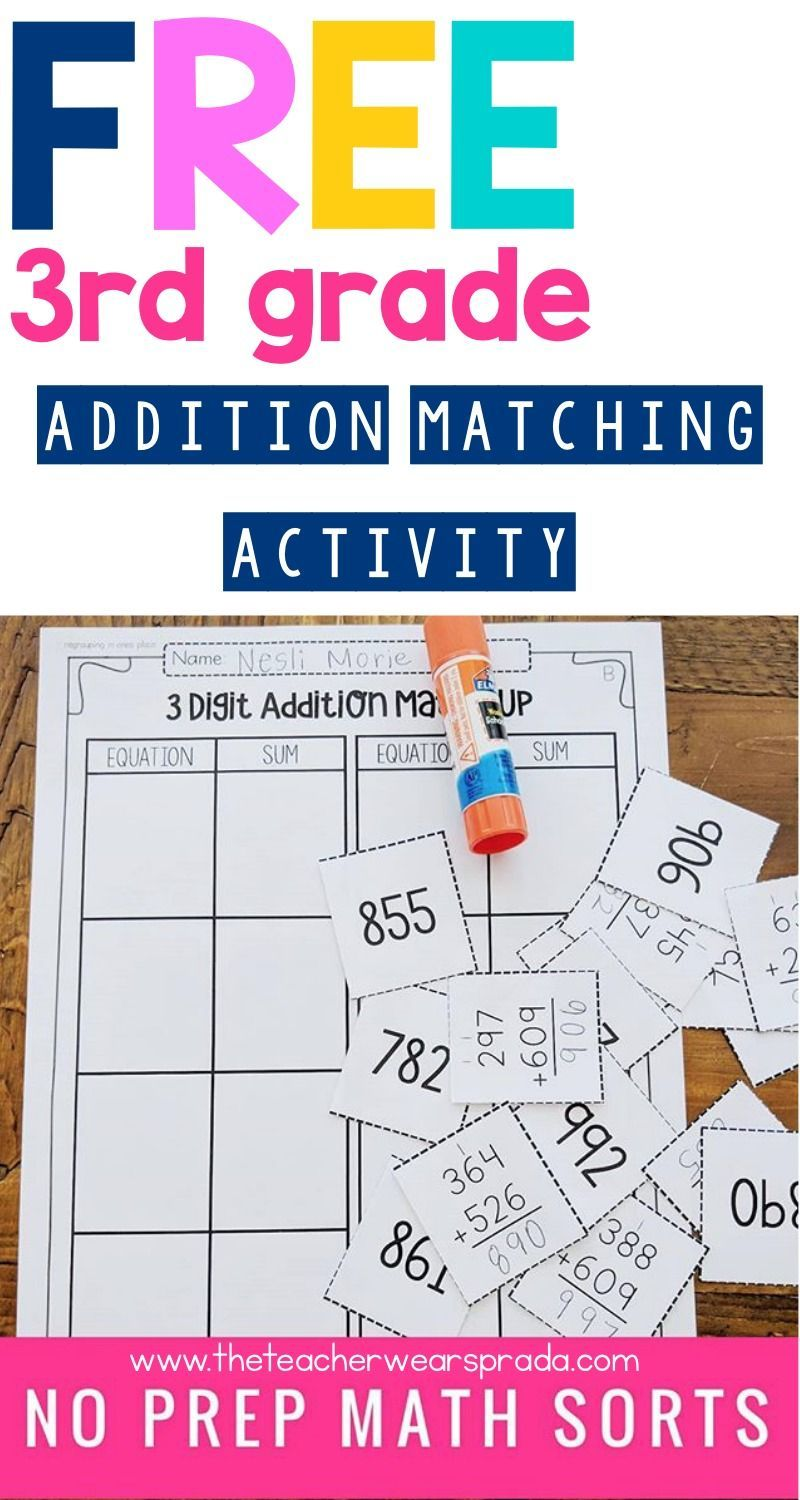 Here's a FREE 3rd grade addition math matching and sorting activity! These  hands-on math worksheets or math …   3rd grade math [ 1500 x 800 Pixel ]