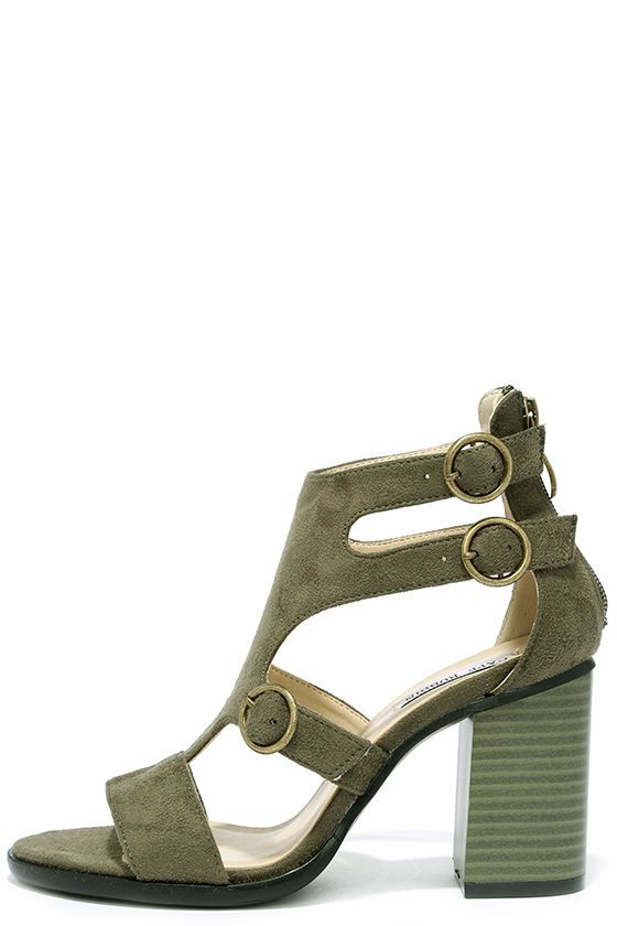 Charlotte Olive Suede Cutout Heels at Lulus.com!