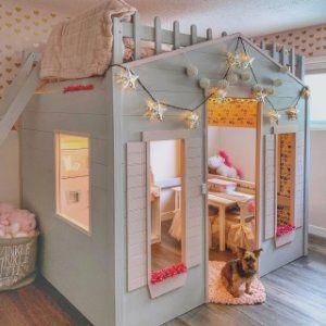 Playhouse Loft Bed in 2020 | Girls loft bed, Playhouse ...