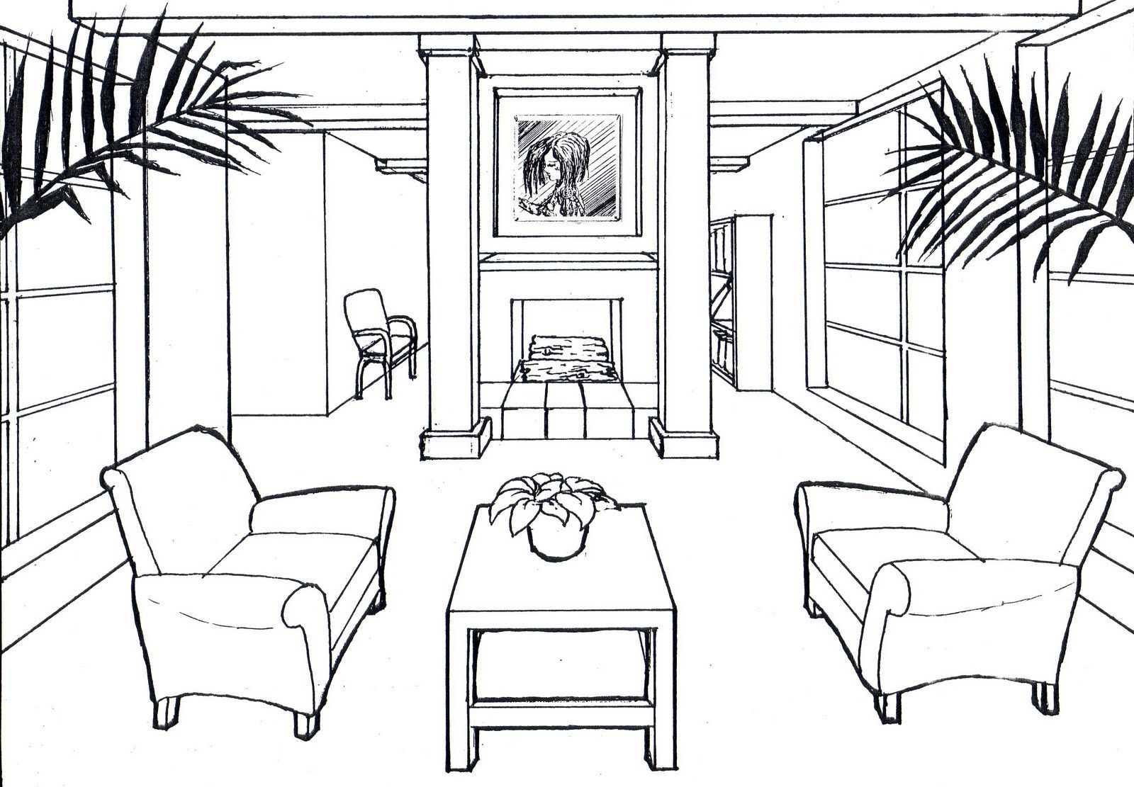 1 point perspective room 06 | Perspektif | Pinterest | Perspective ...