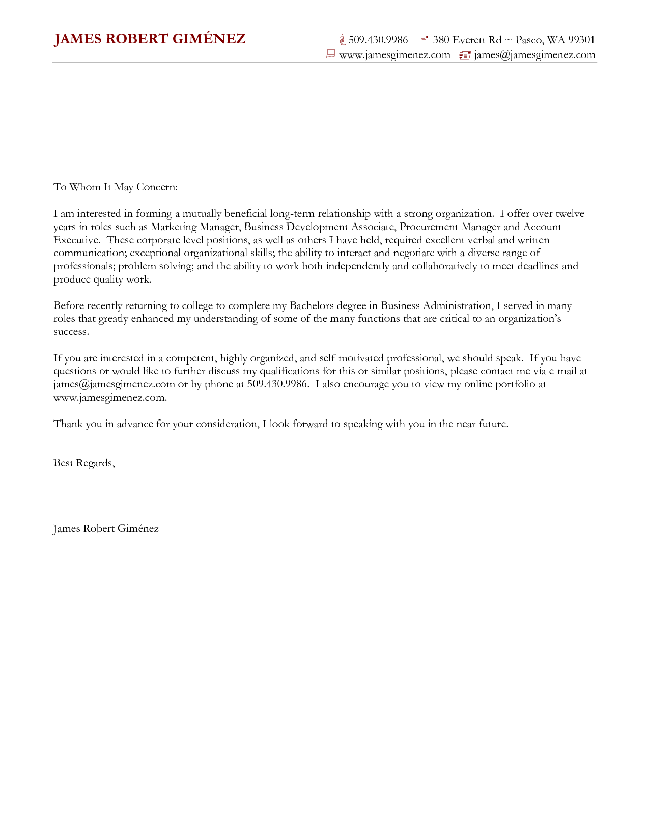 Cover Letter For General Application Cover Letter