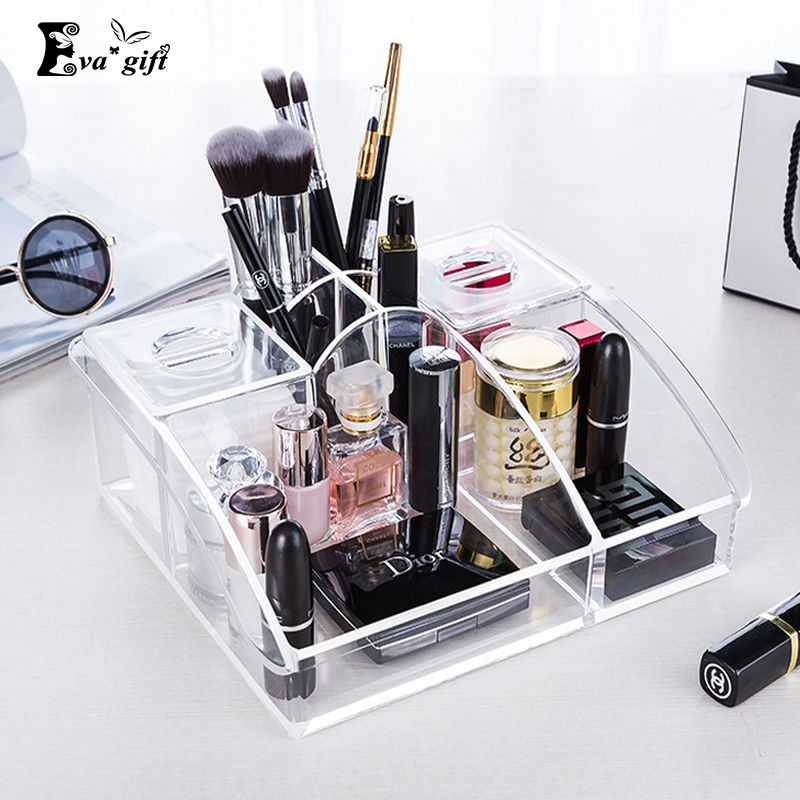 Crystal Acrylic Cosmetic Organizer Case Makeup Storage Box Stand