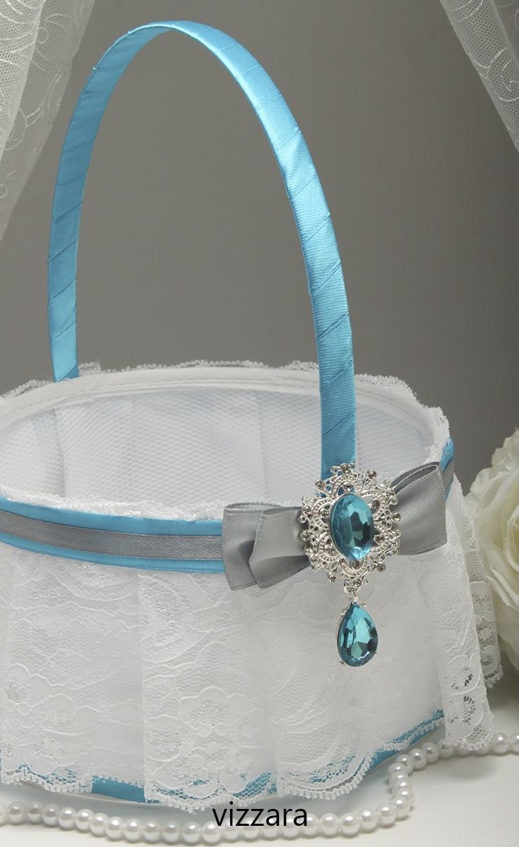Flower Girl Basket Turquoise Wedding Flower Girl Baskets Cheap