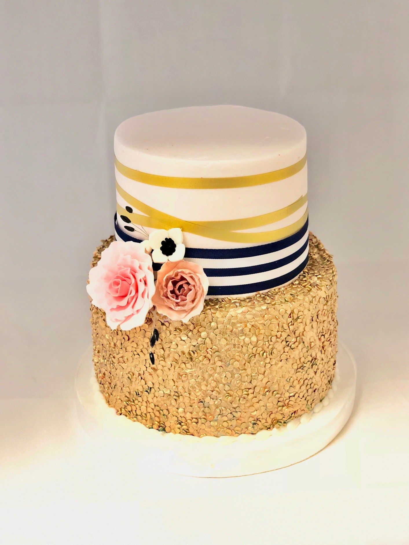 2 Tier Gold Quin Sprinkles & Ribbon Cake FB-129 2 Tier Gold Quin Sprinkles & Ribbon Cake FB-129 – Confection Perfection Cakes Online Ordering