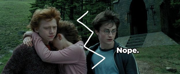 """Oh, but this just means they're good friends,"" I hear you saying. ""Hermione obviously belongs with Harry, romantically."" 