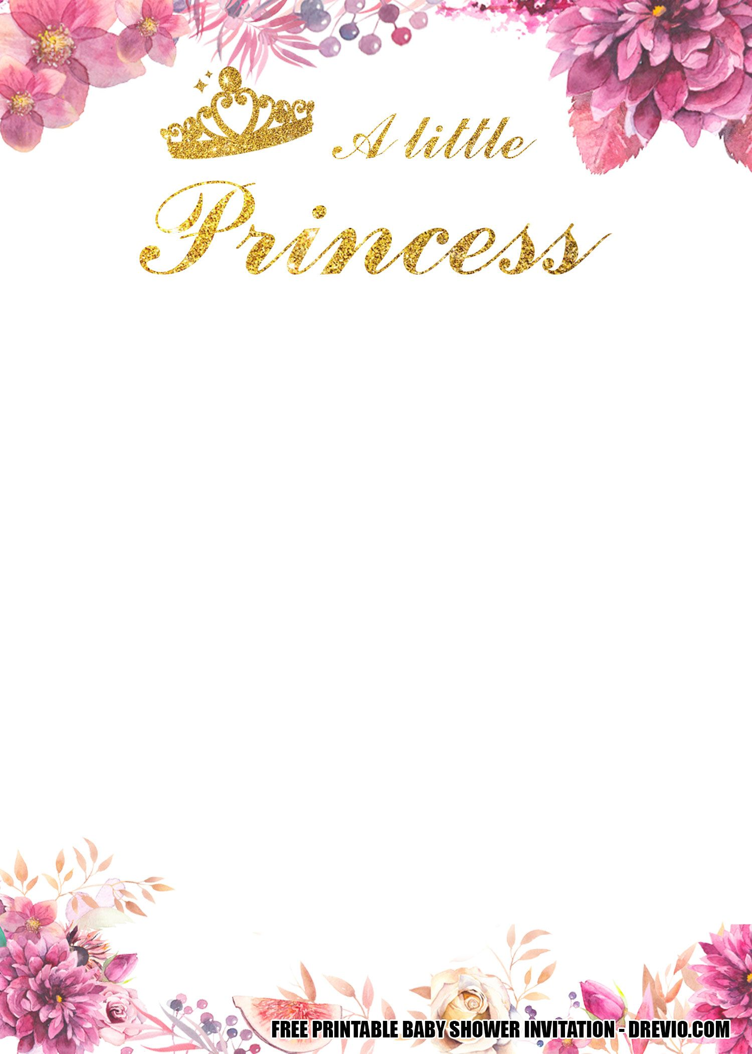 Free Floral Princess Baby Shower Get The Beautiful Invitation