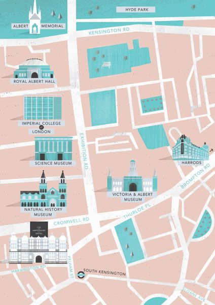 Simplified Map Of London.Illustration Style Clean Simplified Map Depiction Of A City