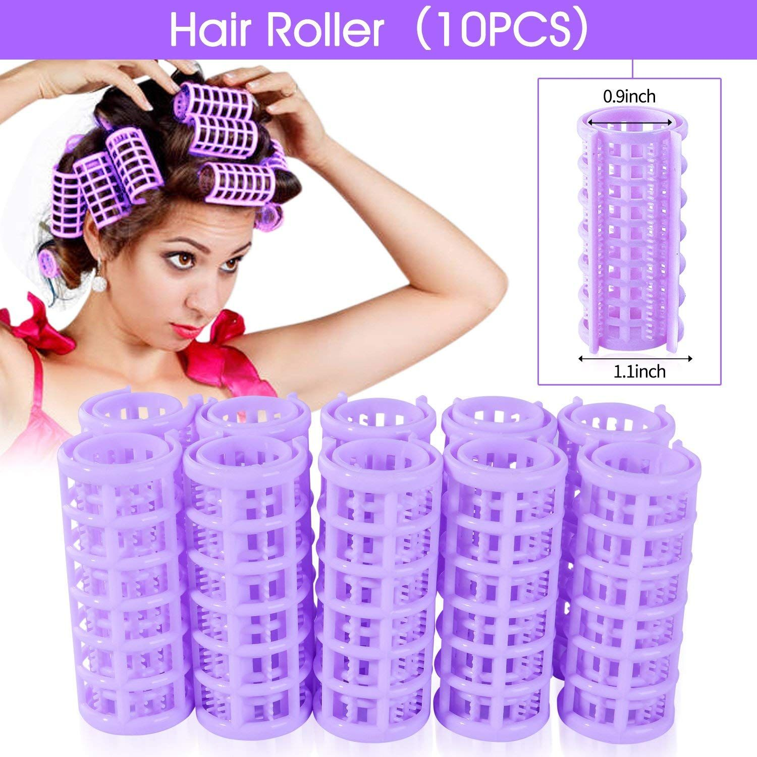 Yousha 10pcs Diy Home Small Plastic Hair Roller Pro Salon Hairdressing Curlers Clips For Women Ladies Purple Hair Rollers Plastic Hair Rollers Hair Curlers