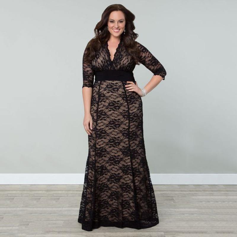 Women\'s Plus Size Lace Winter Gown Dresses 2016 Autumn Women Maxi ...
