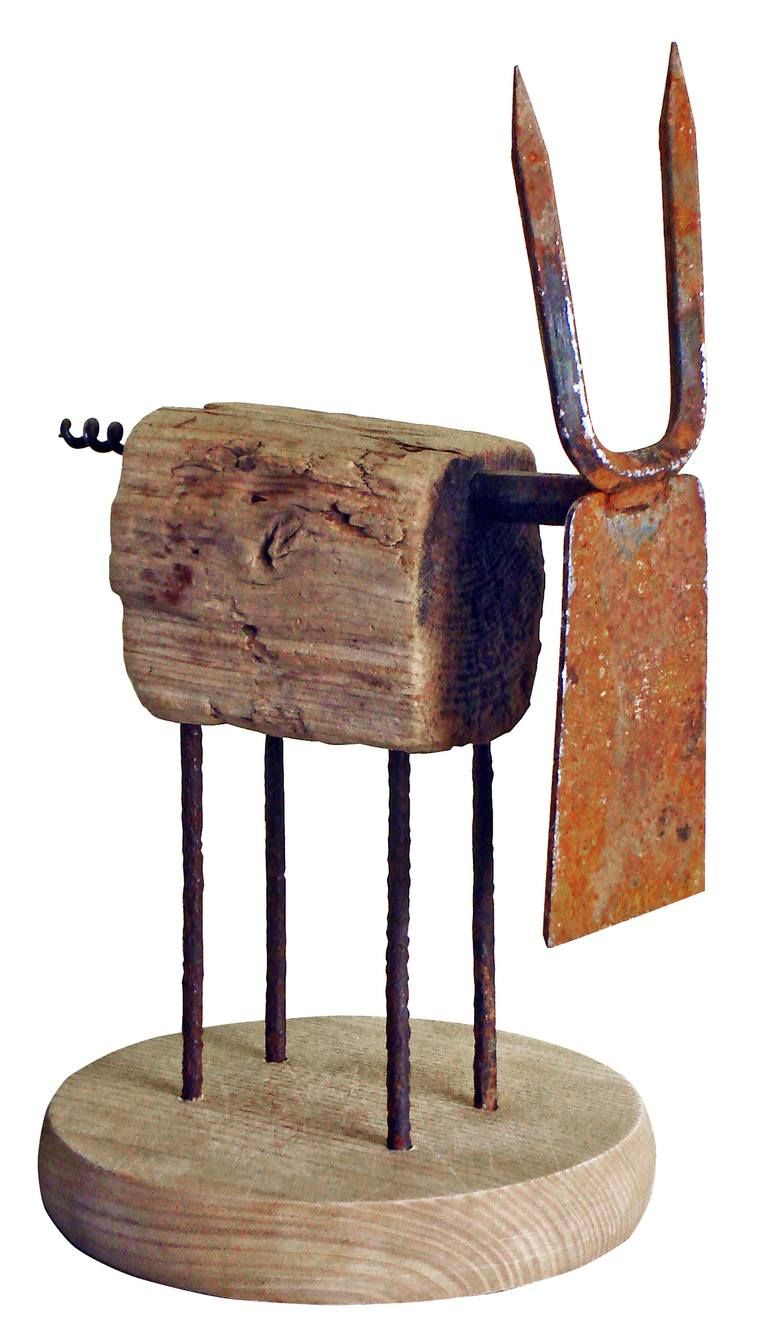Original Animal Sculpture by Oriol Cabrero   Minimalism Art on Wood   dairy cow