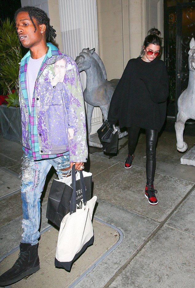 ASAP Rocky Hangs With Kendall Jenner Wearing Charlotte Maëva-Perret Raf  Simons Face Jacket, Himumimdead Jeans and Alexander Wang Boots