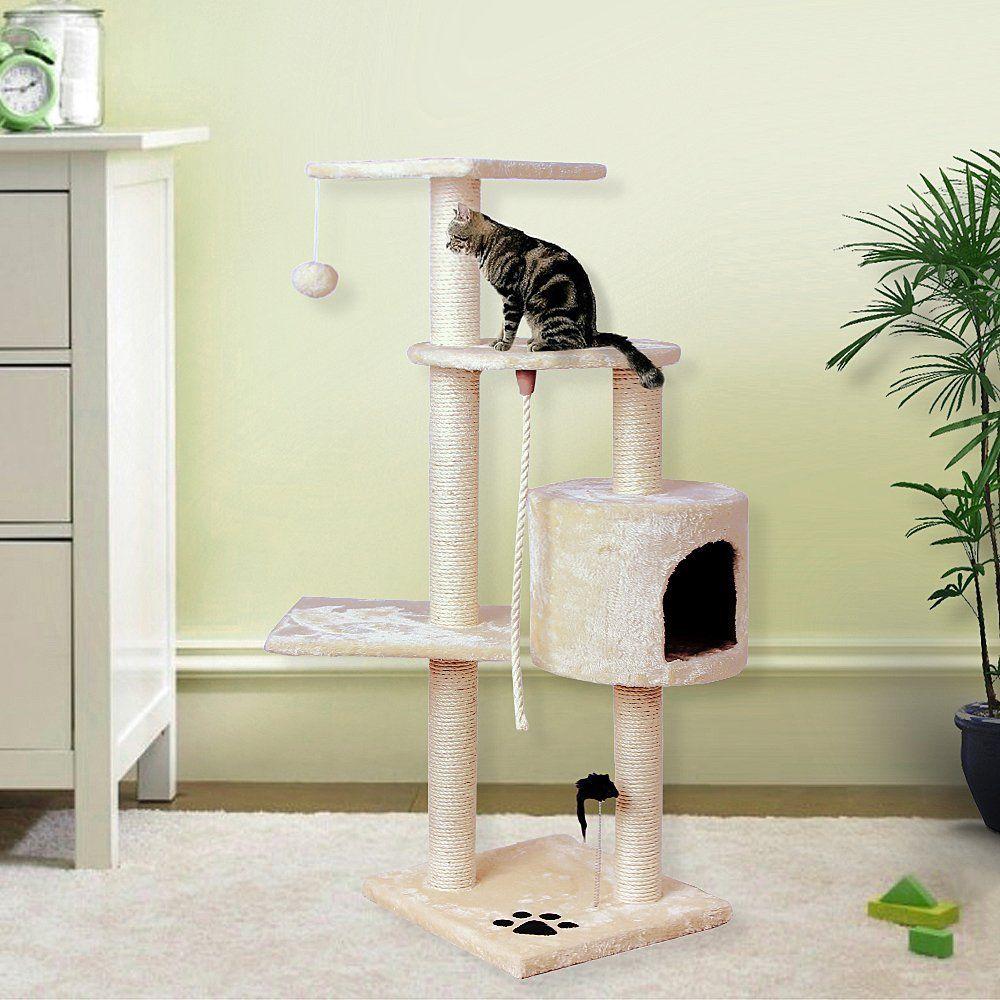 songmics arbre chat griffoir grattoir beige 111cm pct08m animalerie chat chat. Black Bedroom Furniture Sets. Home Design Ideas
