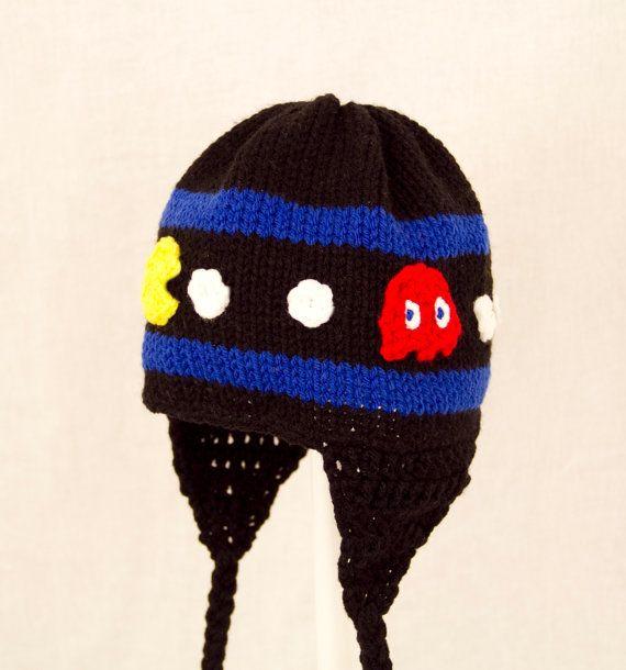 Pacman Hat Video Game Crochet Earflap send size by GeekinOut | Baby ...