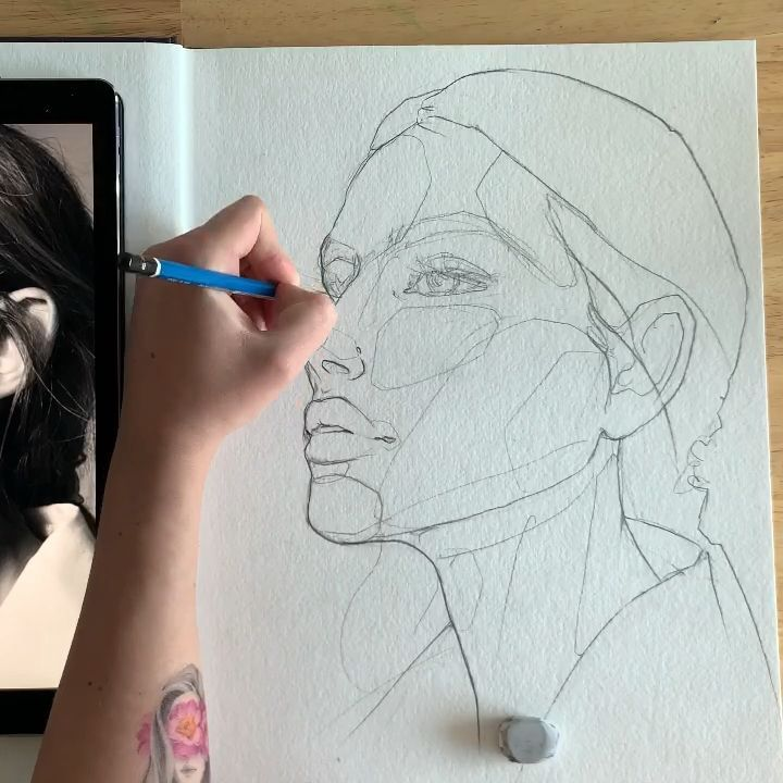 Face sketching by Polina Bright - #Bright #Face #painting #Polina #Sketching