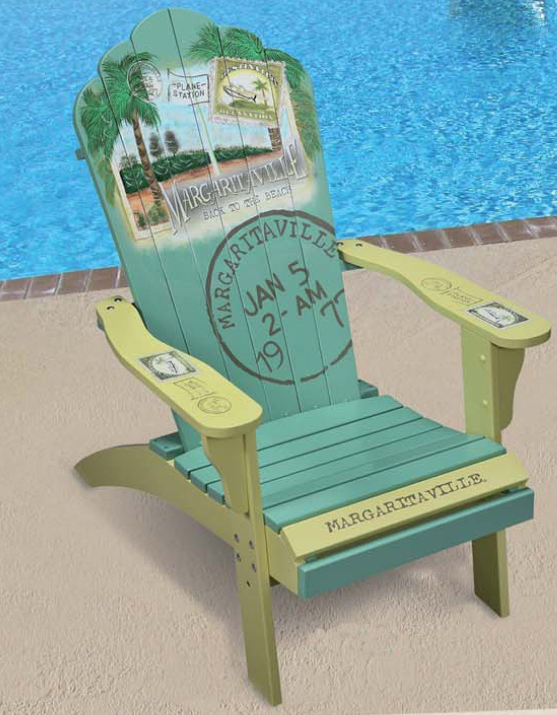 Margaritaville Painted Back To The Beach Wood Adirondack Chair Patio Deck  Pool