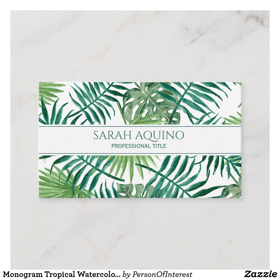 Monogram Tropical Banana Palm Leaves Botanical Business Card Zazzle Com Leaf Monogram Palm Leaves Monogram