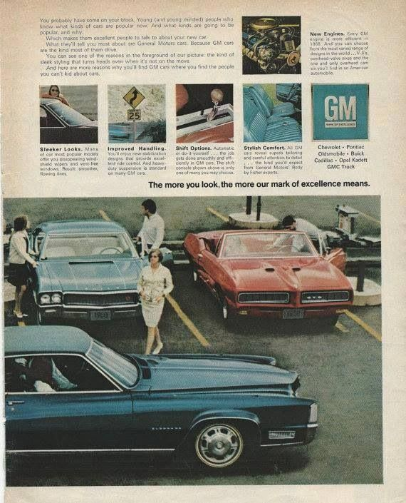 """1968 GM Full Page Ad """"...See What Young America Is Driving"""