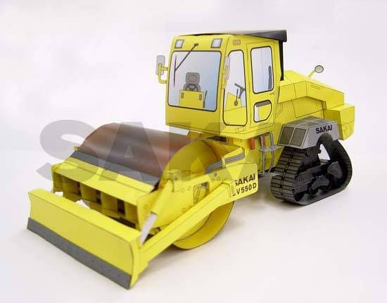 Sakai CV550D Compactor Free Construction Vehicle Paper Model Download