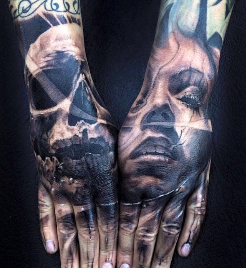 Skull Portrait Hand Tattoos By Jak Connolly Skull Hand Tattoo Hand Tattoos Full Hand Tattoo