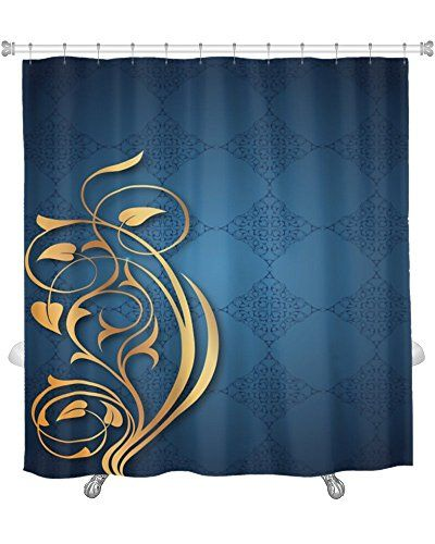 Gear New Shower Curtain, Image Of Blue Gold Patterns, GN1... Http