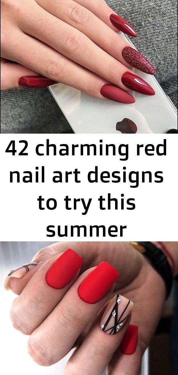 42 charmante rode nail art-ontwerpen om deze zomer nagels te proberen; nagelsag; nagelstagram; nagelsart; nagels gedaan 7
