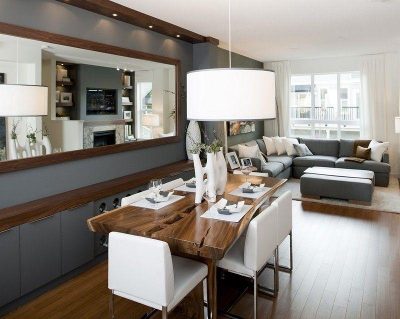 dekovorschläge für wohnzimmr mit essplatz - spiegel an der wand, Innenarchitektur ideen