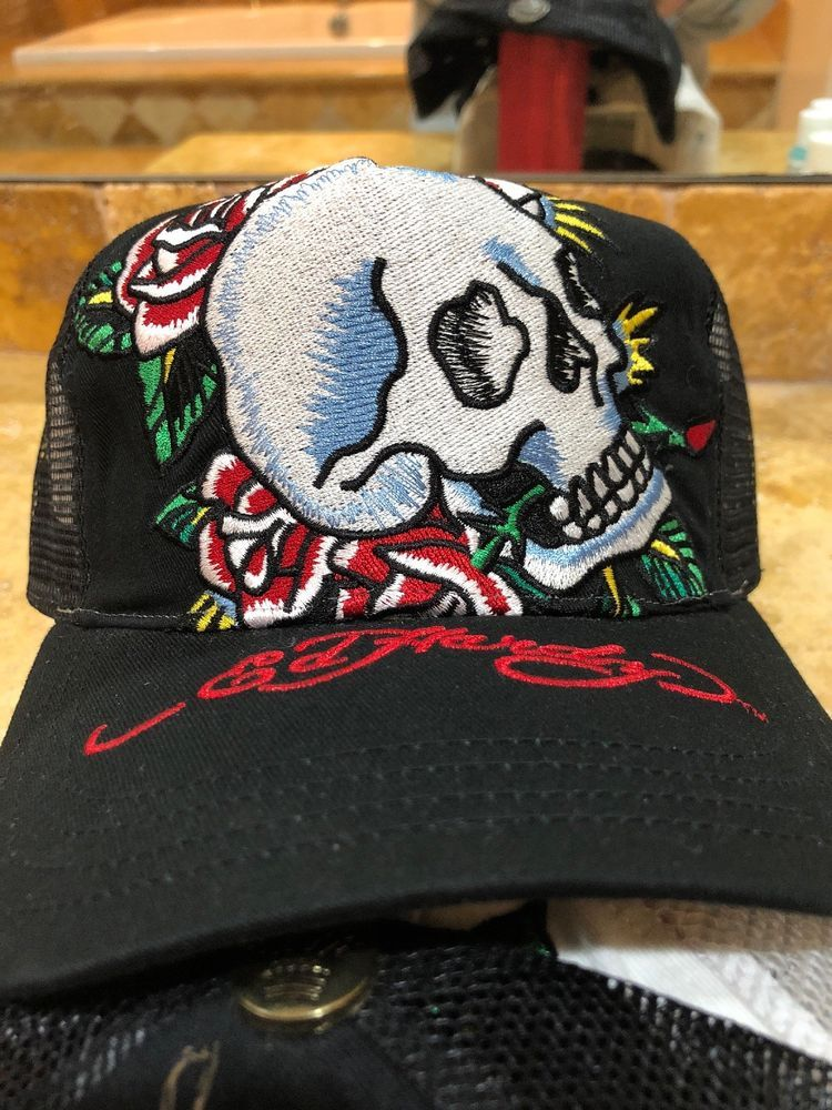 Ed Hardy Black Skull   Roses Embroidered Hat Cap Snapback  fashion  clothing   shoes ef27f3444fb7