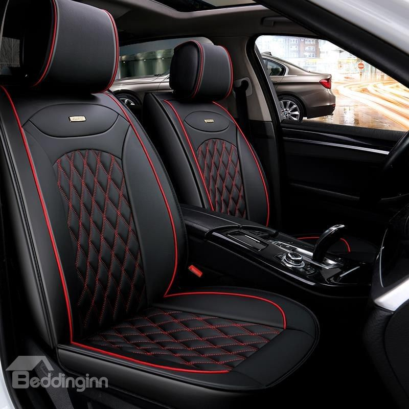 Luxurious Color Brilliancy Plaid Leather Universal Car Seat Cover Leather Car Seat Covers Car Seats Leather Car Seats