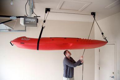 Kayak Ceiling Hoist Boat Storage Rack Hi Lift In 2020 Canoe Storage Kayak Storage Rack Kayak Storage